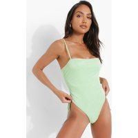 Womens Glitter Square Neck Ruched Swimsuit - Green - 8, Green