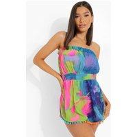 Womens Bright Tie Dye Pom Pom Strapless Beach Dress - Green - M, Green