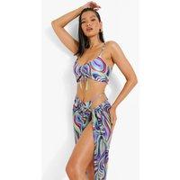 Womens Neon Marble Chiffon Beach Sarong - Blue - L, Blue