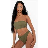 Womens Tall Crinkle Bandeau Bikini Top - Green - 18, Green
