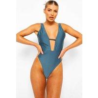 Womens Essentials Plunge Swimsuit - Green - 16, Green