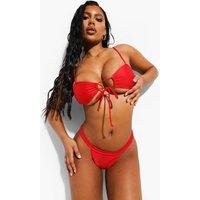 Womens Essentials Tie Front Bikini Crop Top - Red - 14, Red