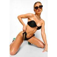 Womens Essentials Knot Detail Bandeau Bikini Top - Black - 10, Black