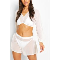 Womens Ruched Front Mesh Beach Co-Ord Set - White - M, White