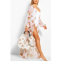boohoo Womens Coconut & Spot Ruched Large Beach Bag - White - One Size, White SZZ8472817335