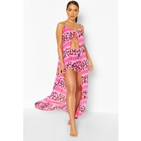 Womens Ombre Leopard Maxi & Short Beach Co-Ord - Pink - M, Pink