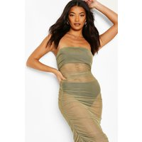 Womens Mesh Ruched Bandeau Maxi Beach Dress - Green - M, Green