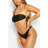 Womens Mix & Match One Shoulder Tie Side Bikini Top - Black - 6, Black