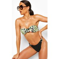 Womens Abstract Animal Buckle High Leg Bandeau Bikini - Black - 14, Black