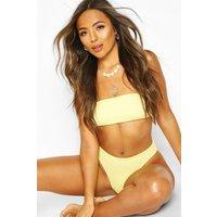 Womens Crinkle Bandeau High Waist Bikini - yellow - 8, Yellow