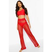 Womens Open Fishnet Beach Trouser - Red - L, Red