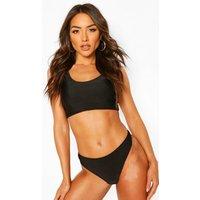 Womens Basic Crop Bikini - Black - 6, Black
