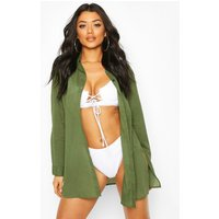 Womens Cotton Oversized Beach Shirt - green - L, Green
