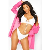 Womens Cotton Oversized Beach Shirt - Pink - L, Pink