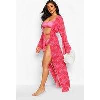 Womens Paisley Flare Sleeve Maxi Beach Kimono - Pink - XS, Pink