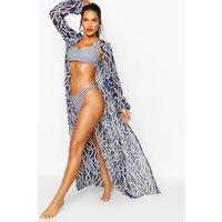 Womens Nautical Rope Print Maxi Beach Kimono - navy - 12, Navy