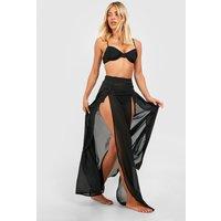 Womens Split Leg Maxi Beach Skirt - Black - 12, Black