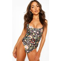 Womens Tropical Paisley Belted Swimsuit - Black - 8, Black