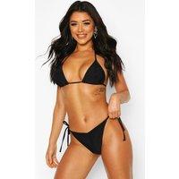 Womens Brazilian Ruched Triangle Bikini - black - 6, Black