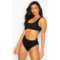 Womens Mix & Match Crinkle High Waisted Bikini Brief - Black - 16, Black