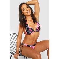 Womens Tropical Floral Moulded Push Up Triangle Bikini - Black - 12, Black