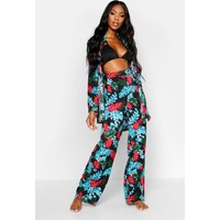 Womens Tropical Print Beach Trousers - black - 14, Black