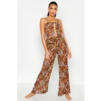 Womens Mixed Animal Print Trouser Beach Co-Ord - Pink - XS, Pink