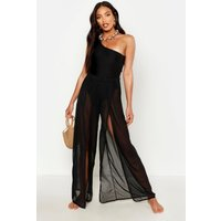 Womens Split Leg Beach Trousers - Black - S, Black