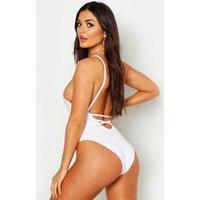 Womens Low Lace Up Back Swimsuit - white - 16, White