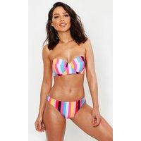 Womens Mix & Match Rainbow Stripe Underwired Bikini Top - Pink - 10, Pink