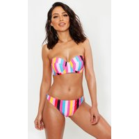 Womens Mix & Match Rainbow Stripe Underwired Bikini Top - Pink - 10, Pink