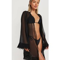 Womens Embroidered Edged Beach Kimono - Black - Xs, Black