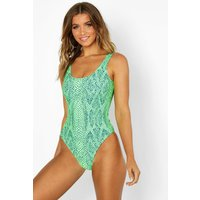 Womens Tropical Snake Ruched Bottom Scoop Swimsuit - green - 8, Green