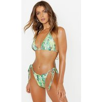 Womens Neon Snake Triangle Bikini - Green - 10, Green