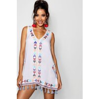 Womens Cheese Cloth Embroidered Tassel Sun Dress - white - 8, White