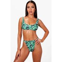 Womens Tropical Leaf High Waisted Crop Bikini - Green - 12, Green