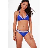 Moulded Triangle Mesh Insert Bikini - blue