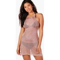 Metallic Knit Maxi Beach Dress - rose gold