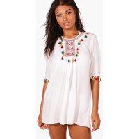 Pom Pom Trim Beach Cover Up Dress - white