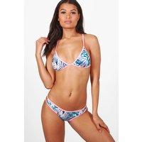 Floral Triangle Bikini - blue