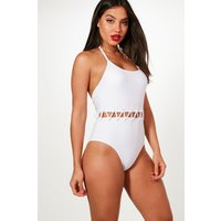 Rico Eyelet Waist Detail Swimsuit - white