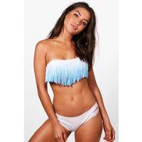 Ombre fringed Bandeau Bikini - blue