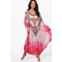 Embellished Digital Maxi Kaftan - pink