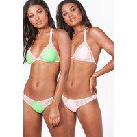 Mesh Insert REversible Triangle Bikini - lime
