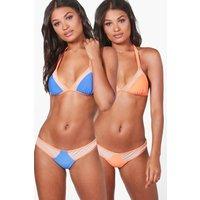 Mesh Insert Reversible Triangle Bikini - orange