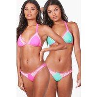 Mesh Insert Reversible Triangle Bikini - pink