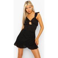 Womens Tall Cotton Linen Shirred Top - Black - 14, Black