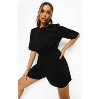 Womens Tall Pocket Playsuit - Black - 6, Black