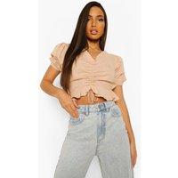 Womens Tall Cotton Linen Crop Top - Brown - 16, Brown
