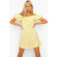 Womens Tall Cotton Linen Playsuit - Yellow - 6, Yellow